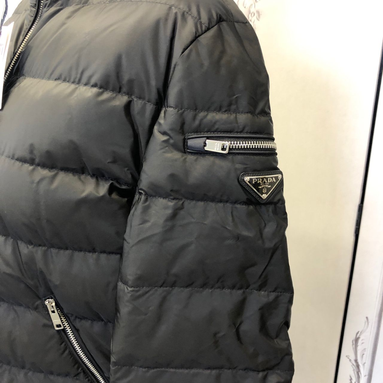 Prada Logo-Appliqued Quilted Nylon Down Jacket Black 9679066509633944