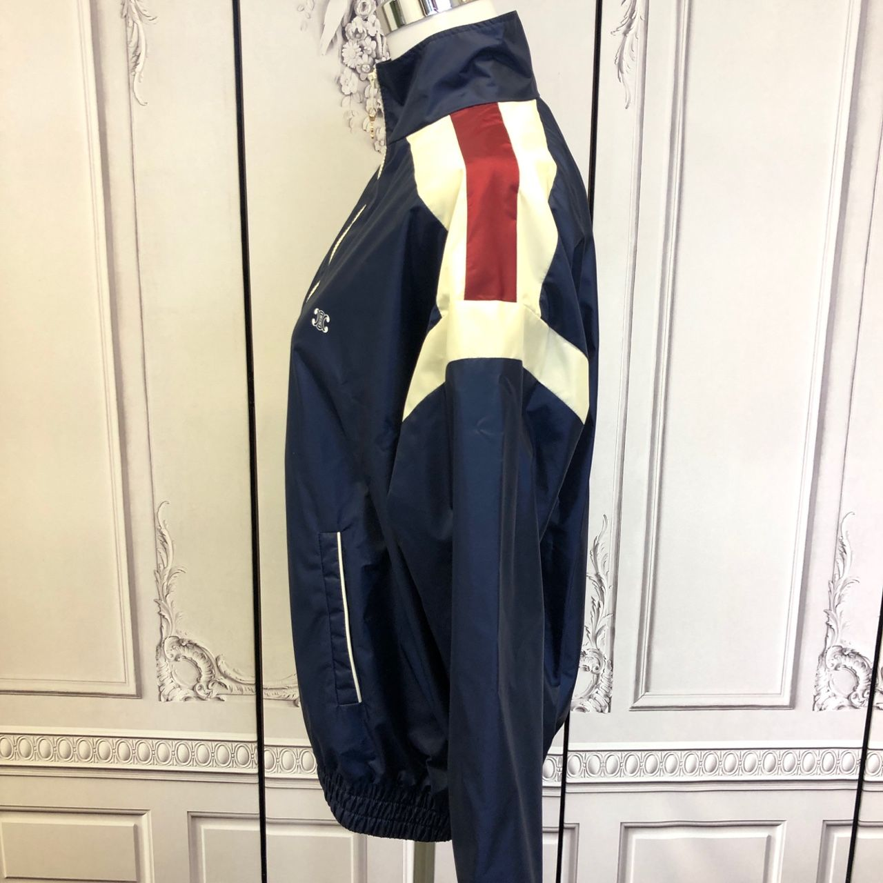 Celine WINDBREAKER IN LIGHTWEIGHT NYLON Navy / Bordeaux / Off White 2W378495M.07XW