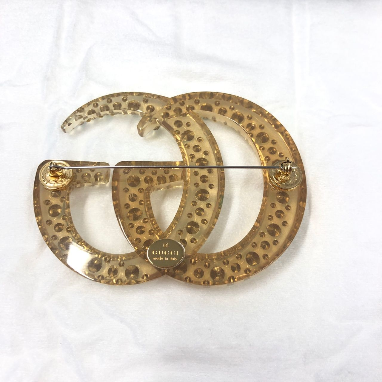 Gucci Gold-tone, resin and crystal brooch 1137476