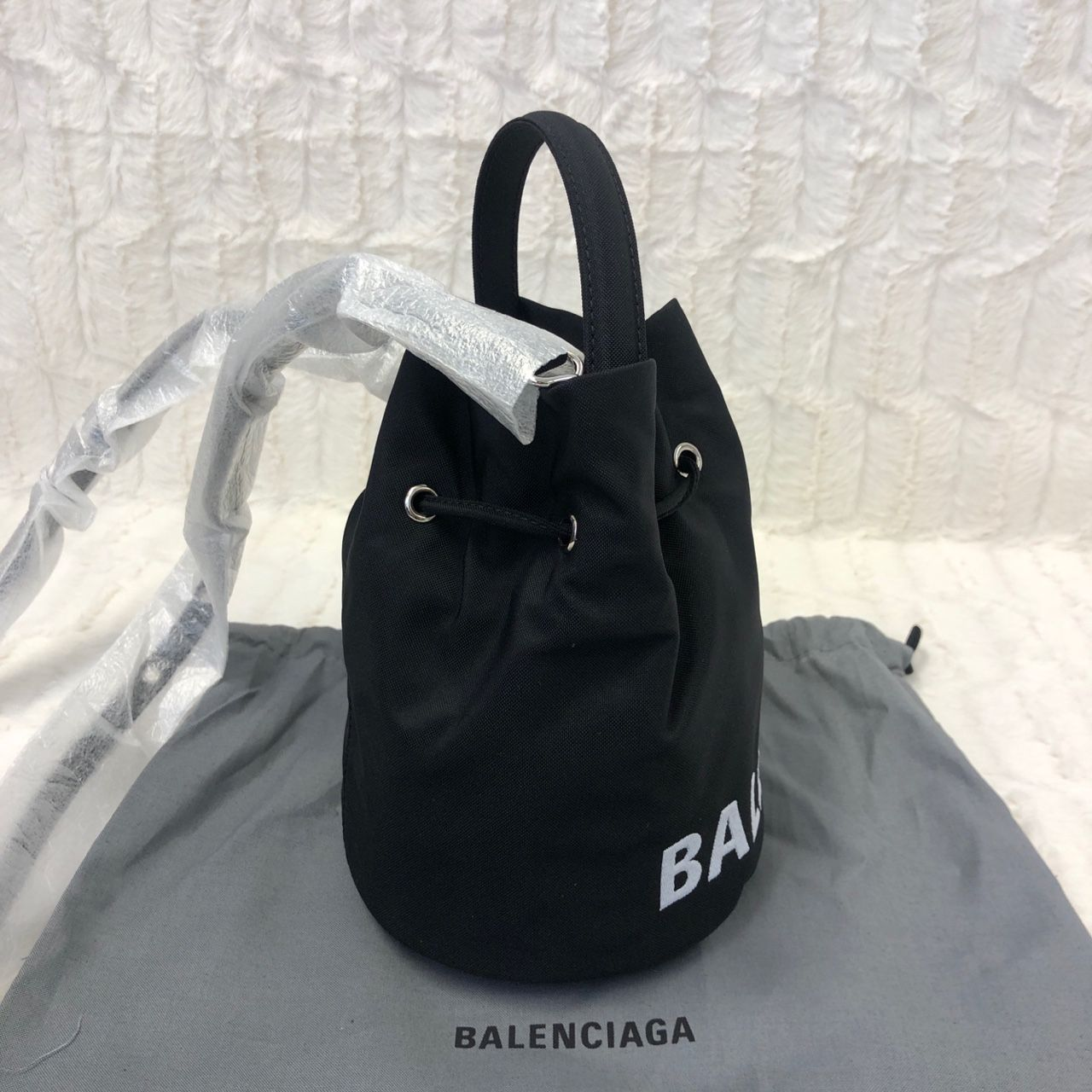 Balenciaga Wheel Drawstring Bag Black A0146115